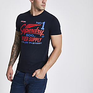 Superdry - Marineblauw T-shirt met logoprint en ronde hals