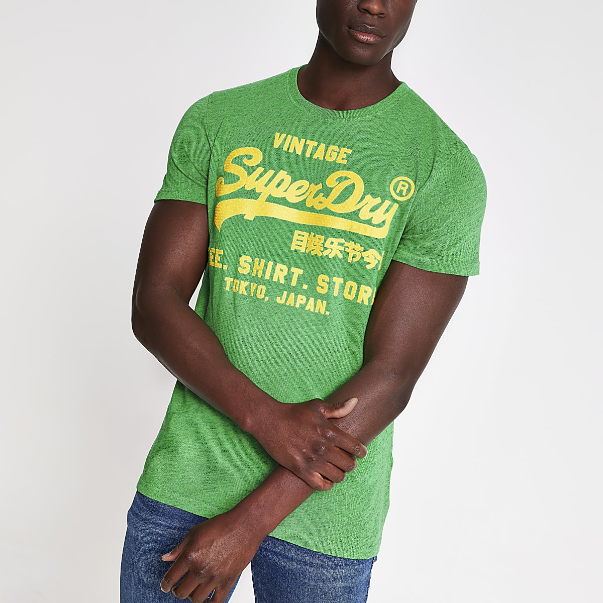 Superdry – T-shirt vert à col ras du cou