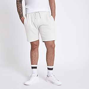 Light grey R96 embroidered slim fit shorts