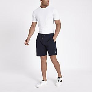 Short slim en jersey à broderie R96 bleu marine
