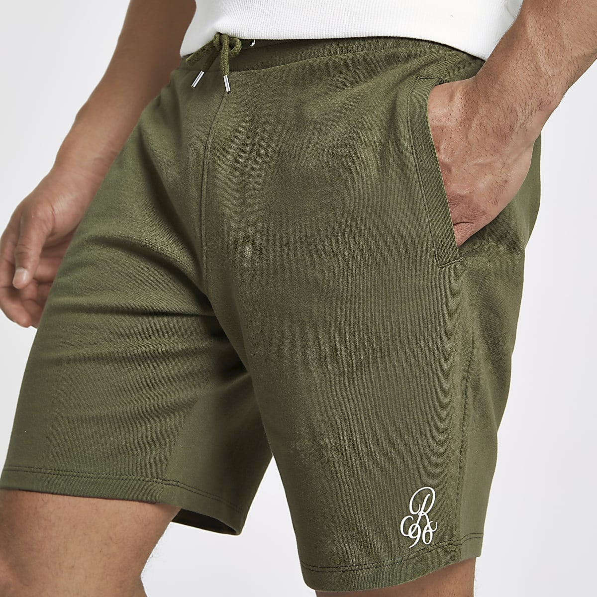Khaki green R96 embroidered slim fit shorts