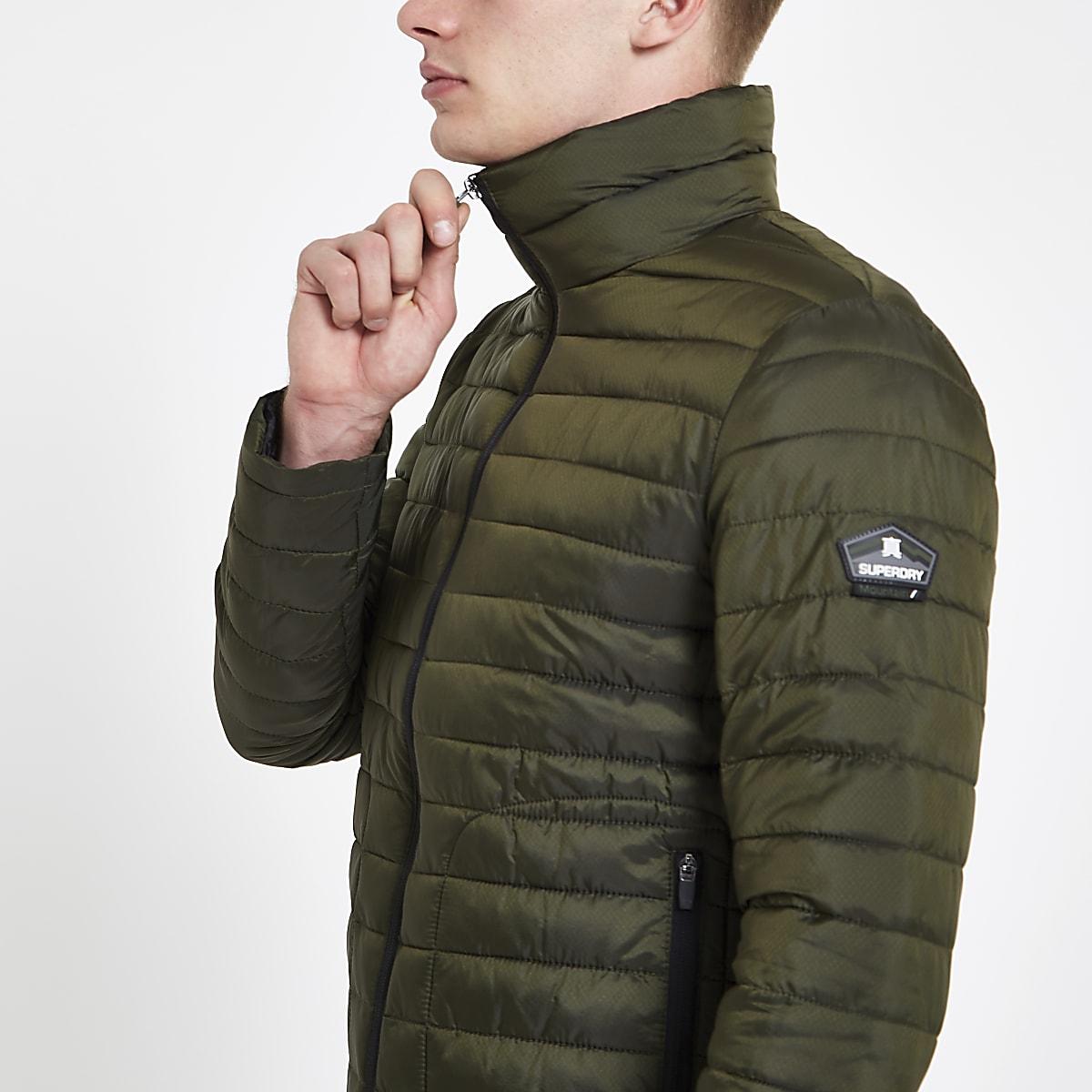 Superdry green double zip Fuji padded jacket