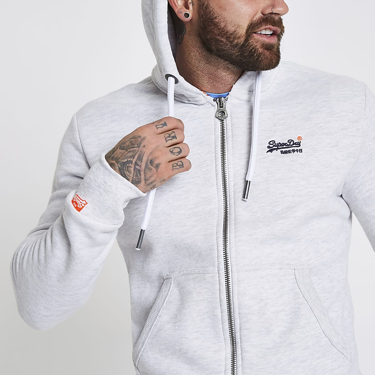 Superdry light grey zip front hoodie
