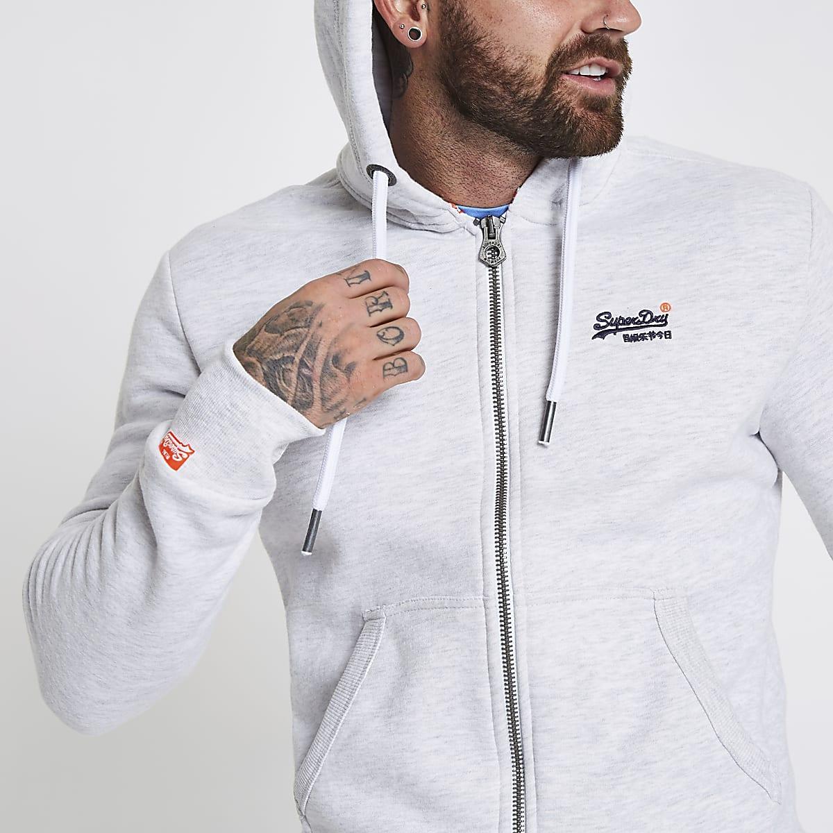 Superdry light grey zip front hoodie