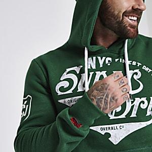 Superdry – Grüner Hoodie mit Logoprint
