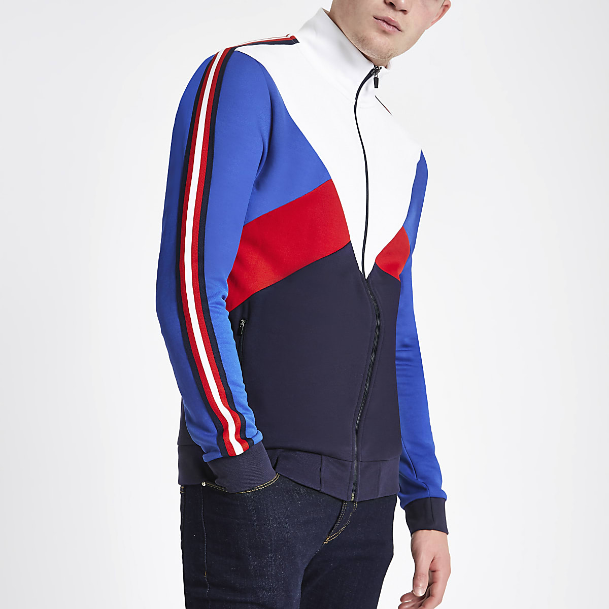 White block funnel neck slim fit track jacket