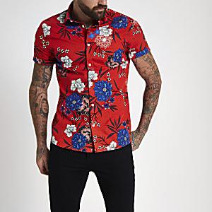Chemise fleurie rouge à manches courtes