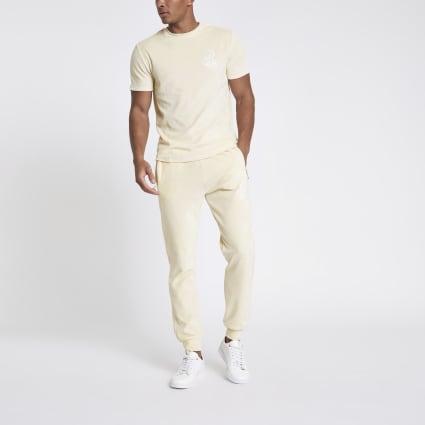 Ecru R96 slim fit velour T-shirt