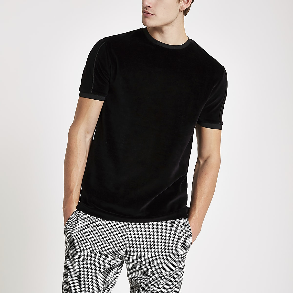 Black slim fit piped crew neck velour T-shirt