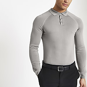 Light grey muscle fit long sleeve polo shirt