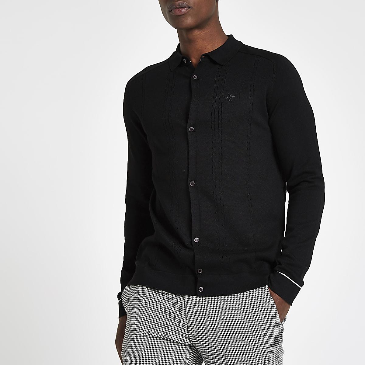 Schwarze, langärmlige Slim Fit Bluse