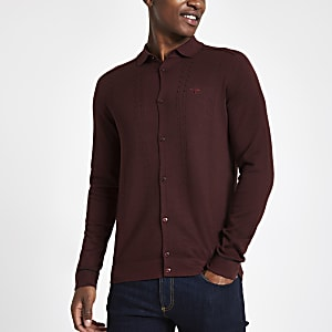 Dark red slim fit cable long sleeve shirt