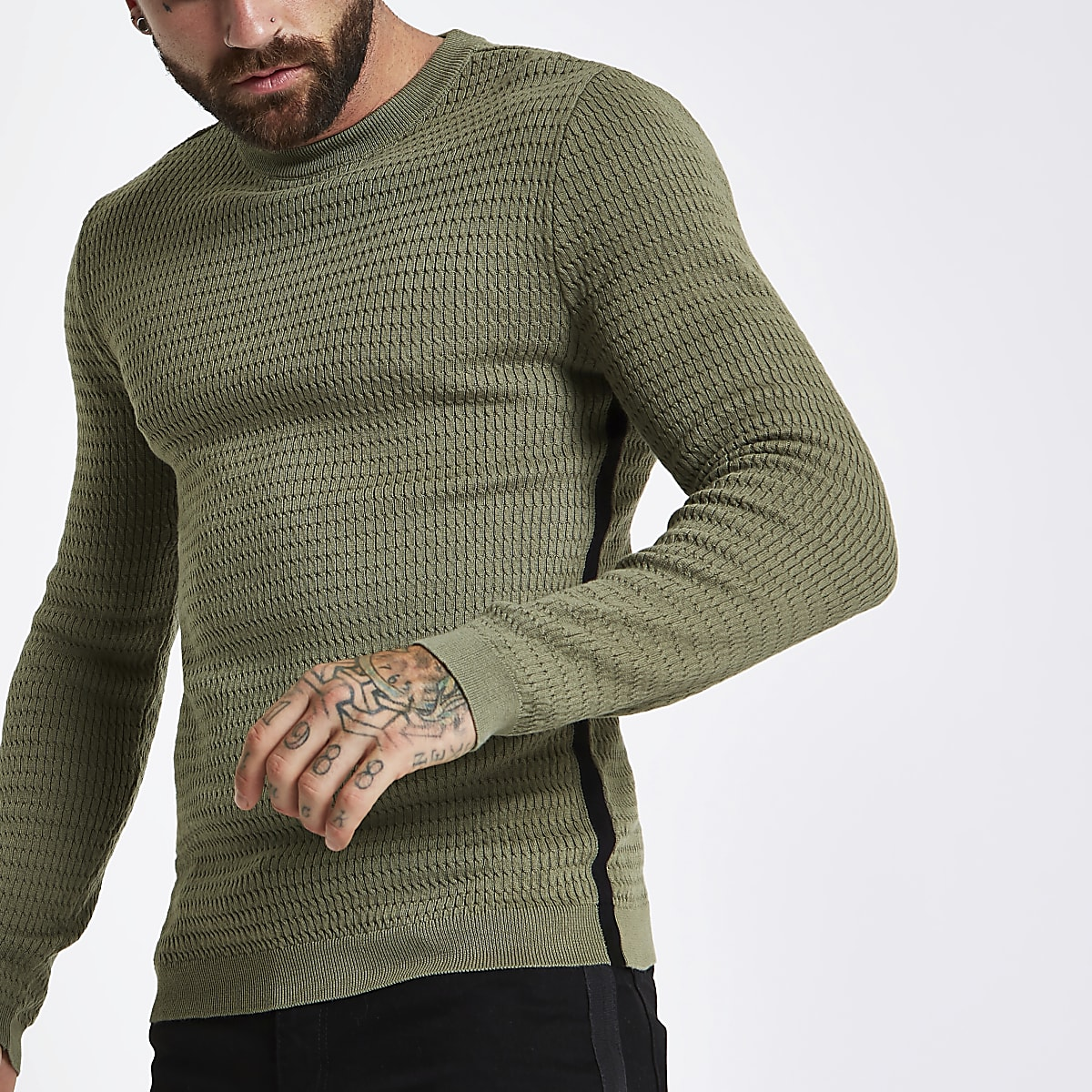 Dark green cable tape side muscle fit jumper