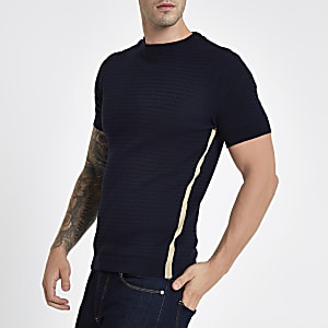 Navy muscle fit cable knit T-shirt