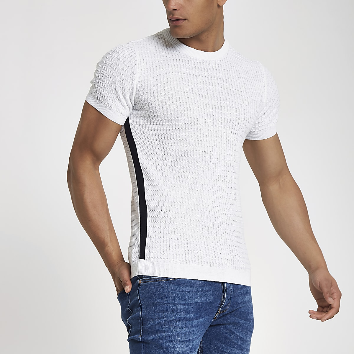 White cable knit muscle fit tape T-shirt