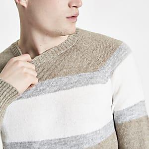 Ecru slim fit color block crew neck sweater