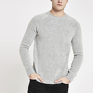 Grijze gebreide slim-fit pullover
