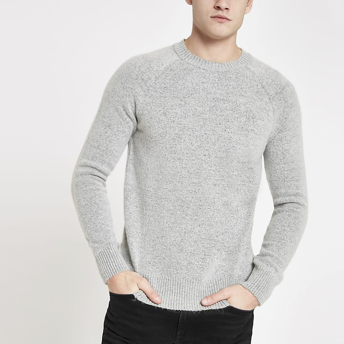Grey knit slim fit jumper