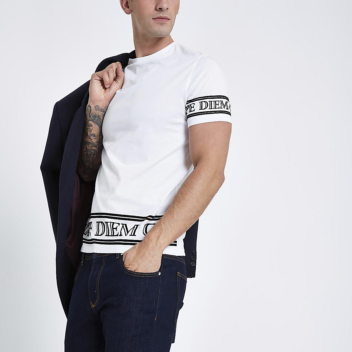 White 'carpe diem' sleeve slim fit T-shirt