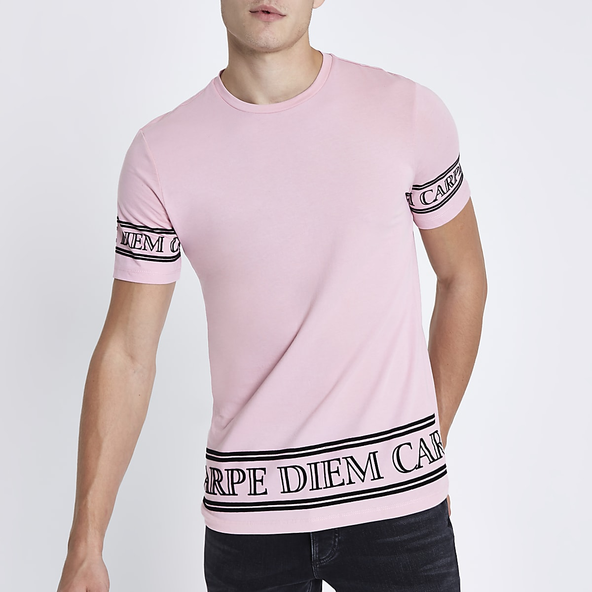 Pink 'carpe diem' sleeve slim fit T-shirt