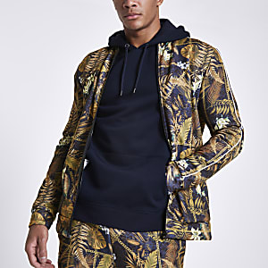 Black palm chain print slim fit track jacket