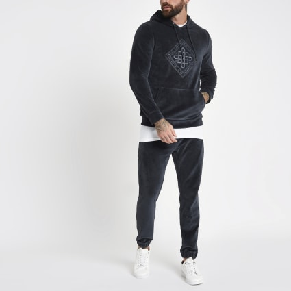 Charcoal grey velour embroidered hoodie