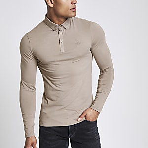 Light brown muscle fit long sleeve polo shirt