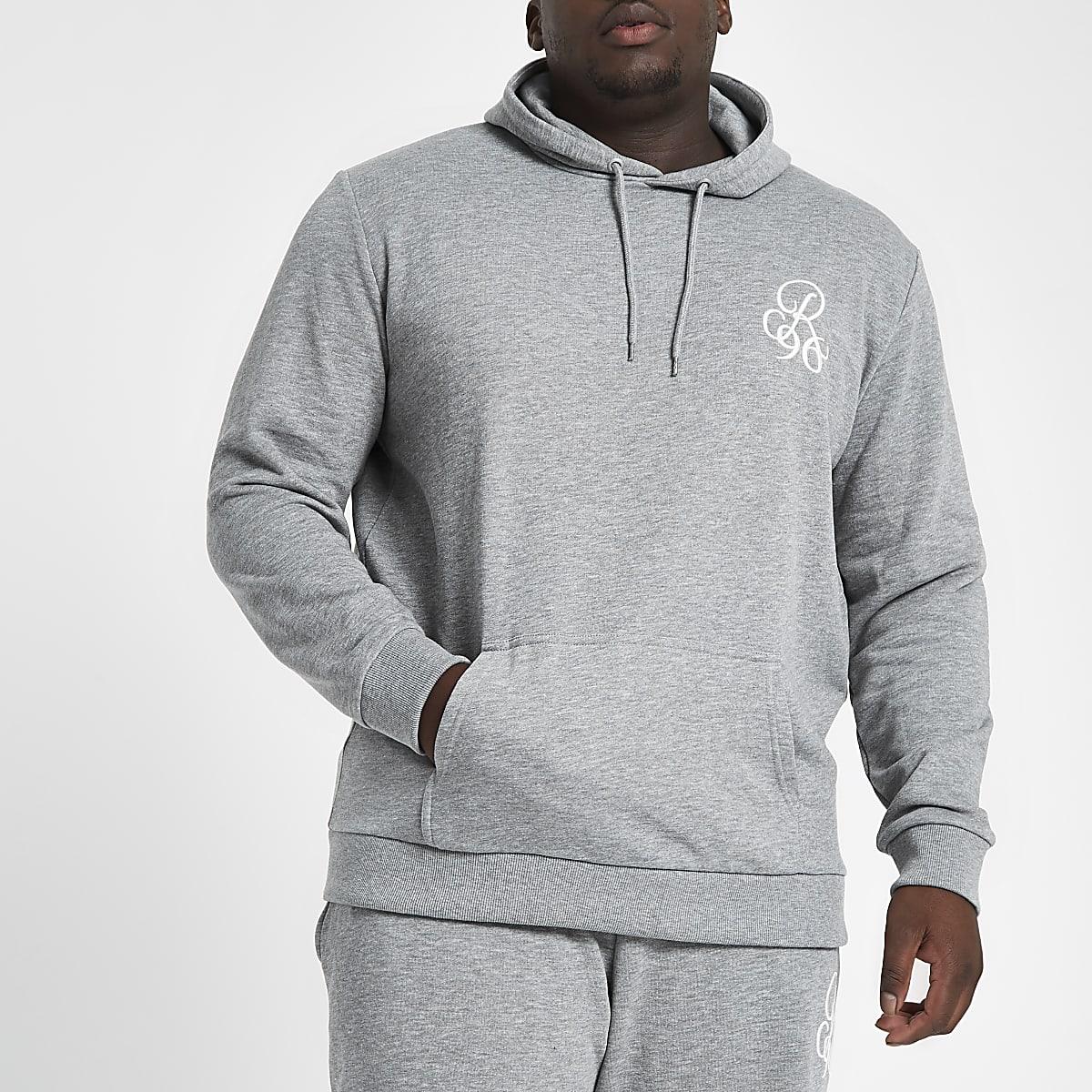 Big and Tall – Sweat à capuche slim gris brodé