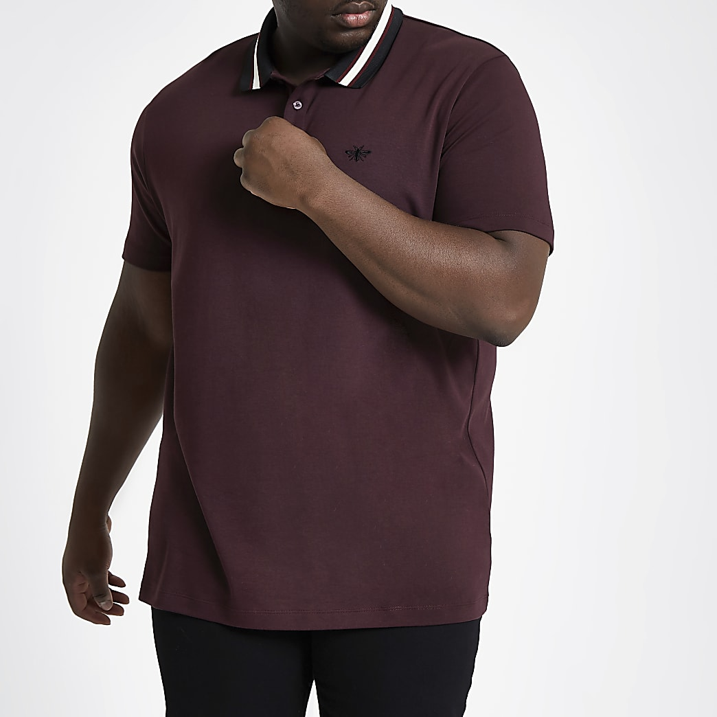 Big and Tall burgundy slim fit polo shirt