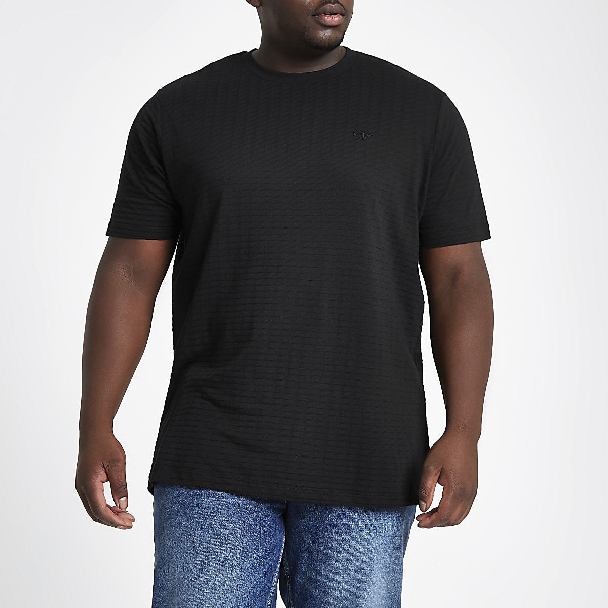 RI Big and Tall - Slim-fit T-shirt met ronde hals en wafeldessin