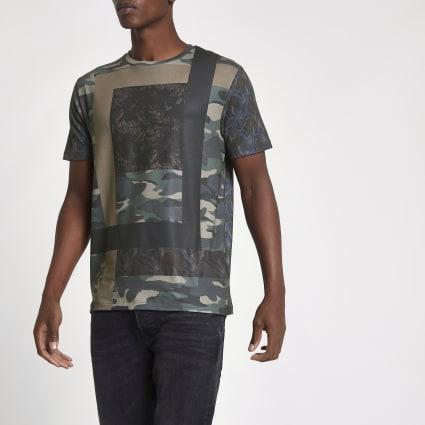 Green camo print slim fit T-shirt