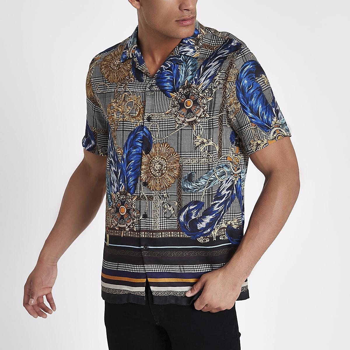 Grey check baroque print revere shirt