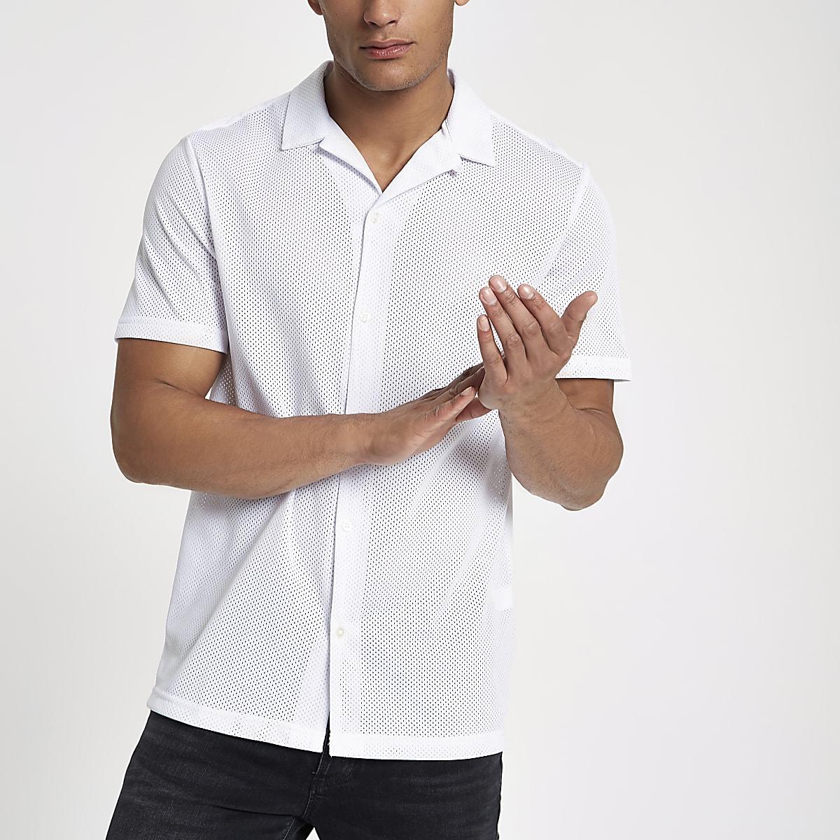 9f3a10c18b4bd White mesh revere collar shirt - Short Sleeve Shirts - Shirts - men