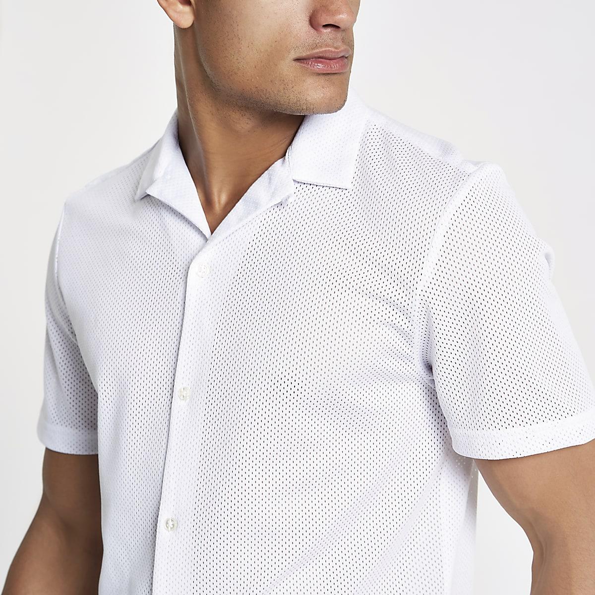 White mesh revere collar shirt