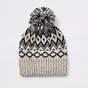 Ecru knit bobble beanie hat