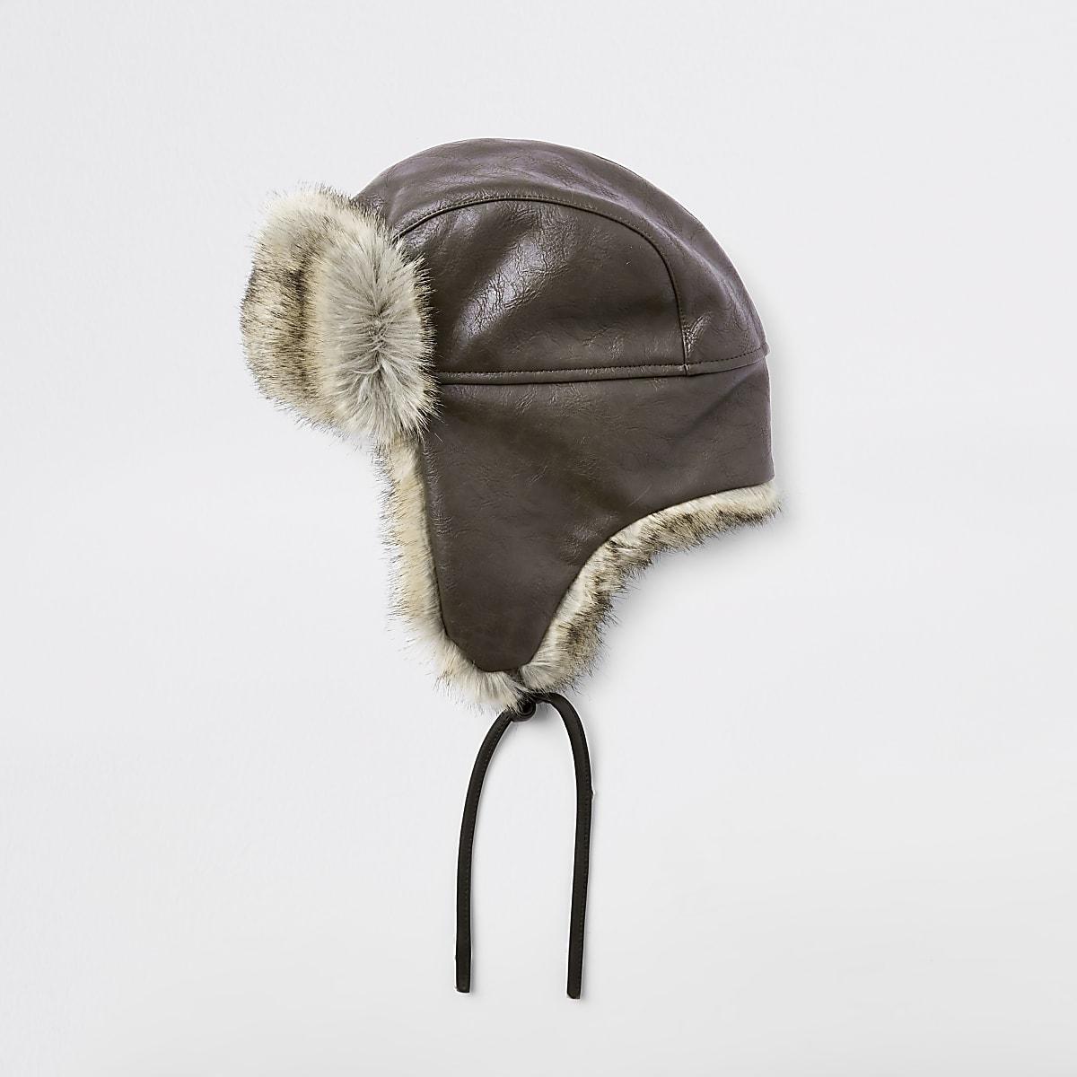 Brown leather faux fur trapper hat