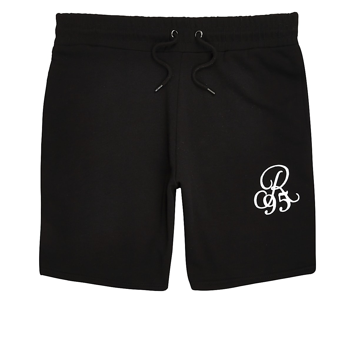 Black R96 embroidered slim fit shorts