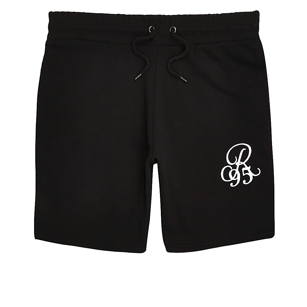 Black R96 embroidered muscle fit shorts