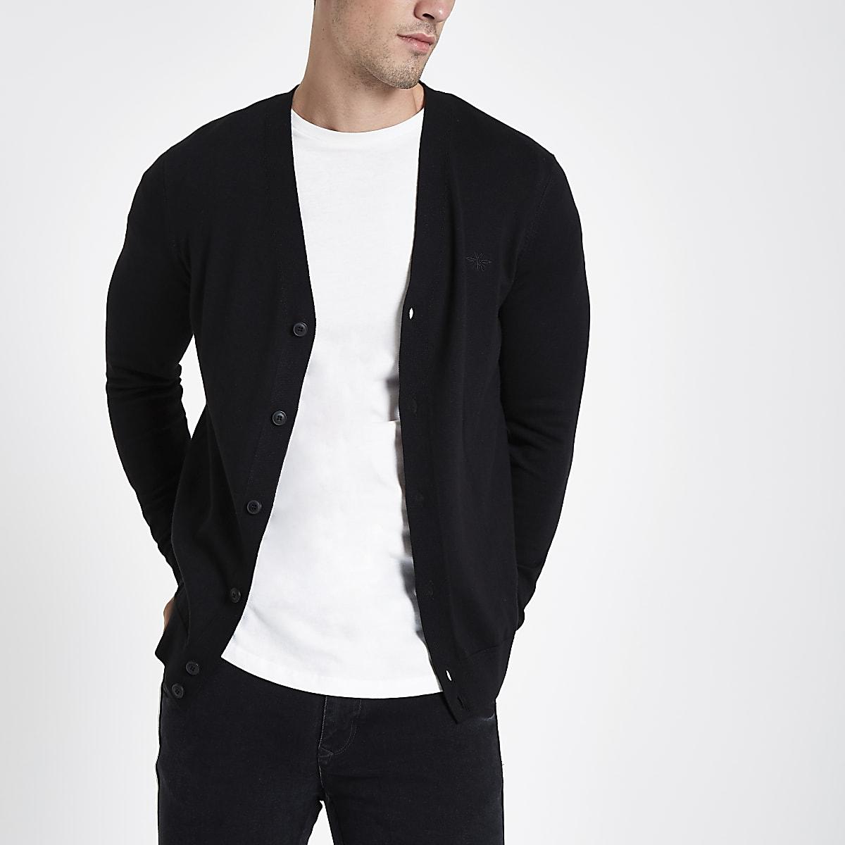 914ab40c778 Zwart vest met V-hals en knopen - Vesten - Pullovers & Vesten - Heren