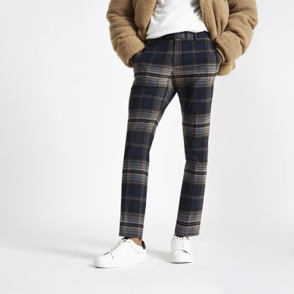 Navy check skinny smart trousers