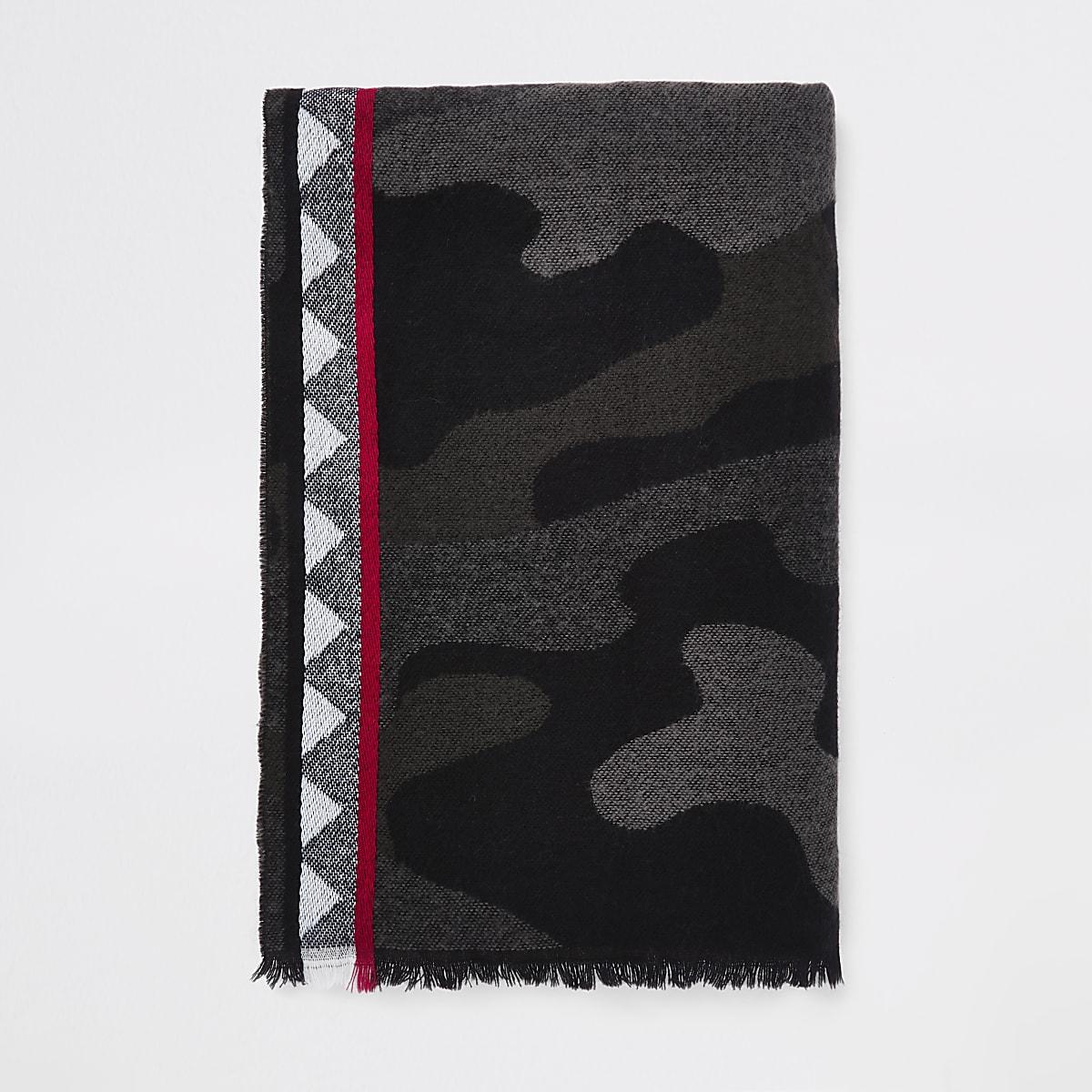Grijze sjaal met camouflageprint