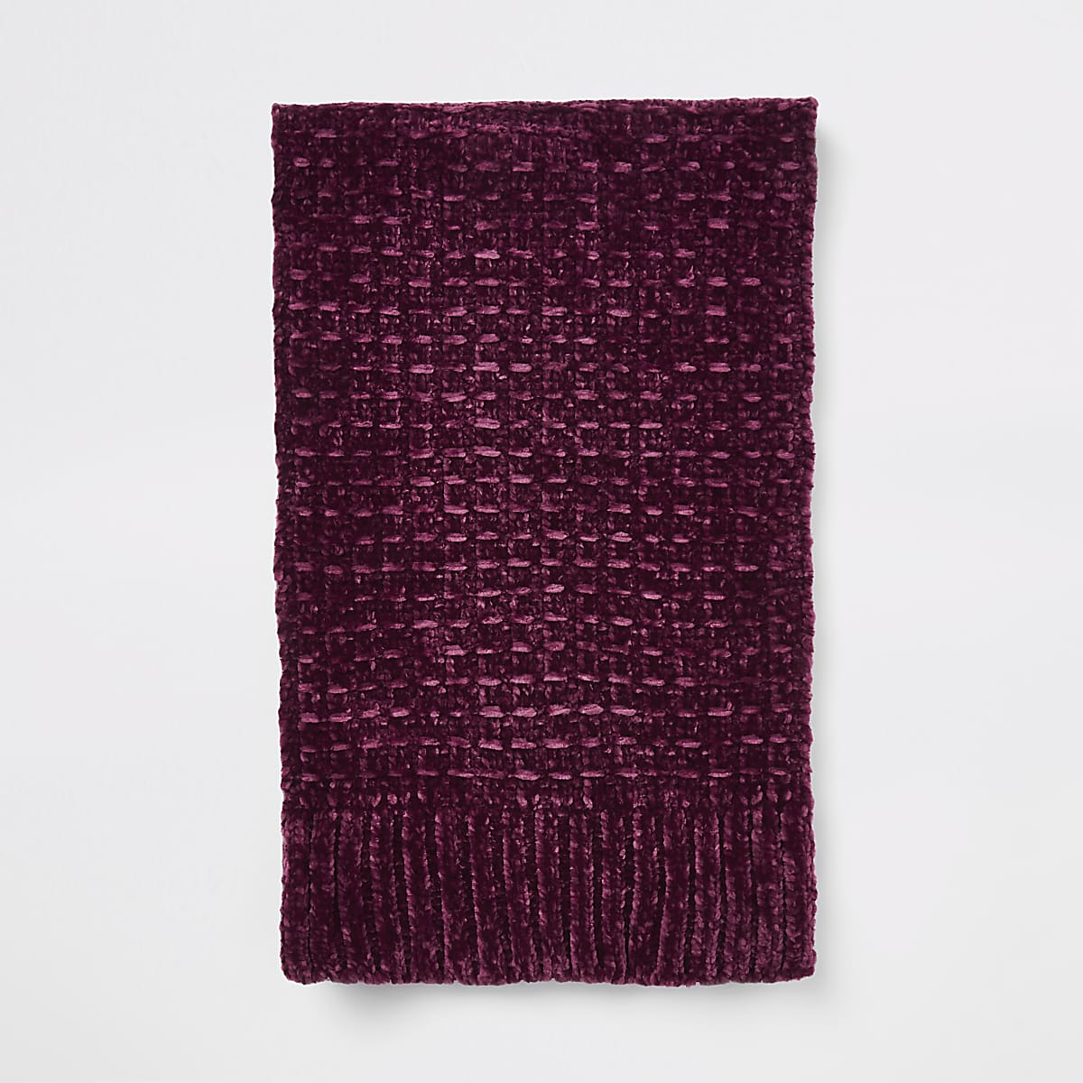 Red chenille knit scarf