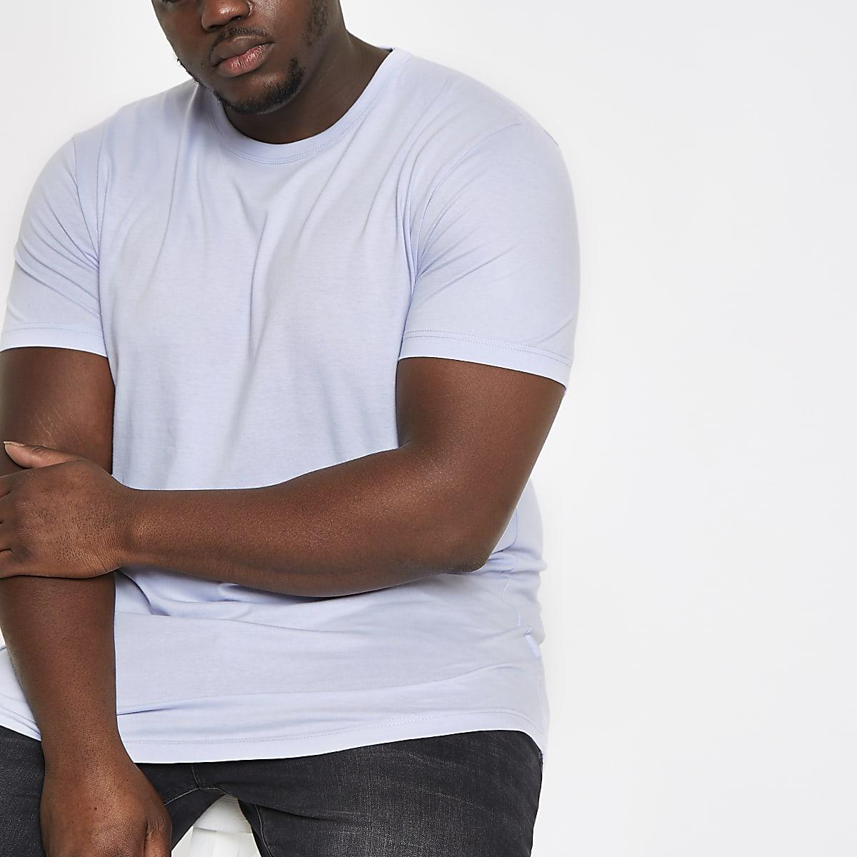 Big & Tall – T-Shirt in Helllila mit abgerundetem Saum