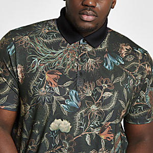 Big and Tall khaki floral print polo shirt