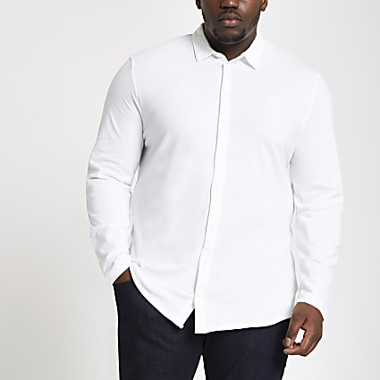Big and Tall white button through shirt