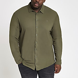 Big and Tall dark green button-through shirt