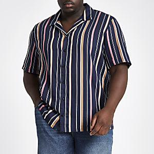Big and Tall navy stripe shirt