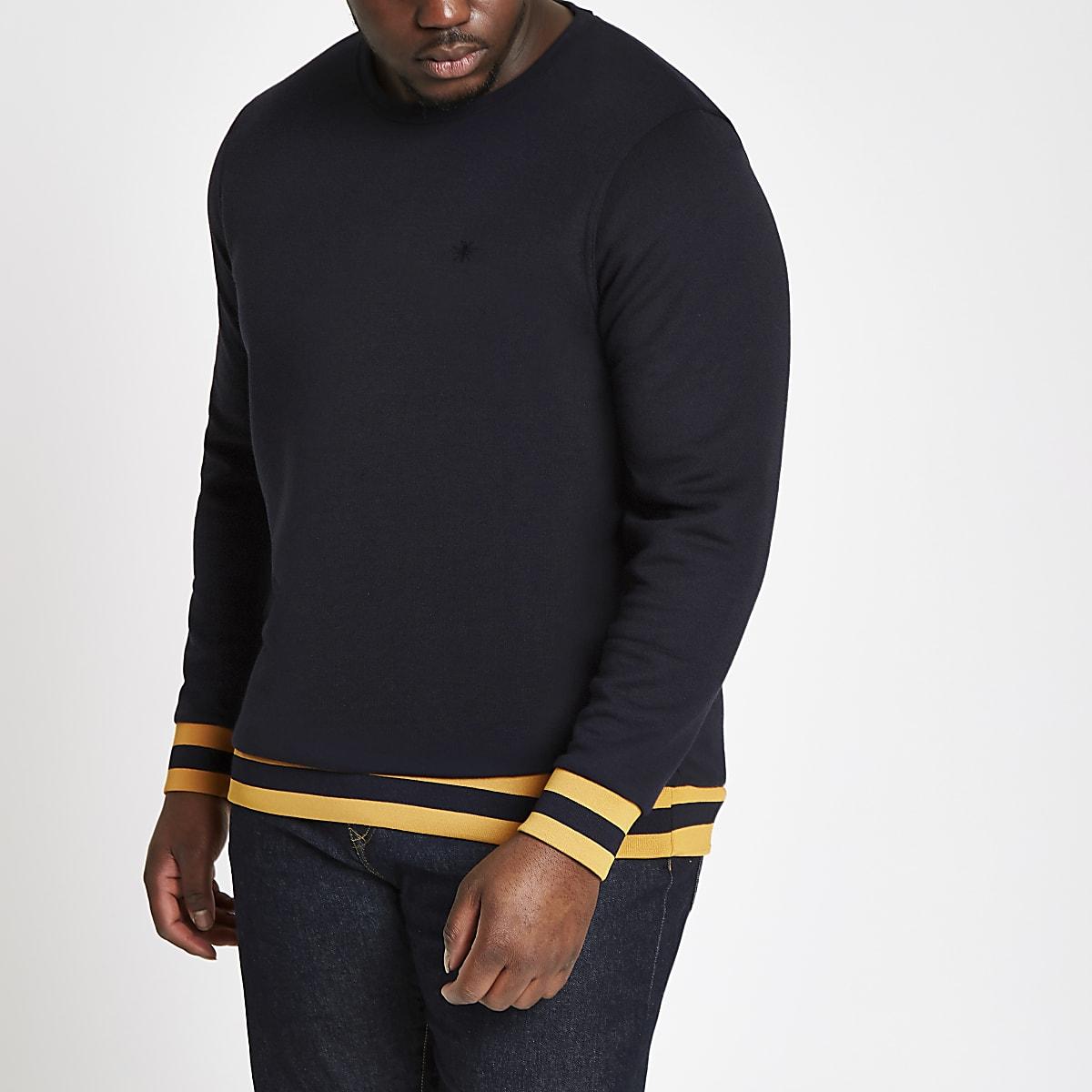Big and Tall navy tipped sweatshirt
