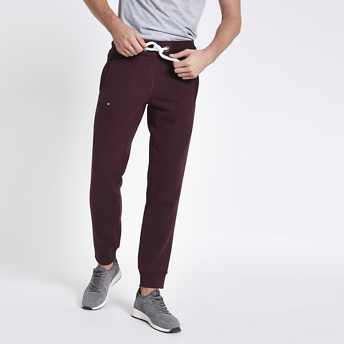 Superdry burgundy cuffed joggers