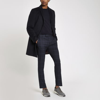 Navy skinny check smart trousers